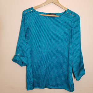 Outback Red Teal Blouse Hearts Medium